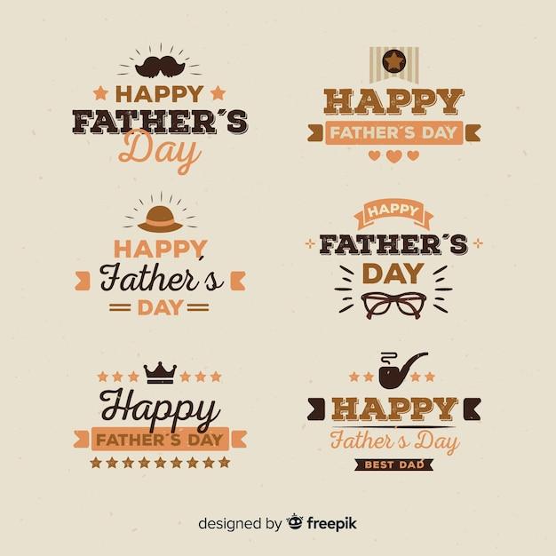 Collection d'insignes de fête des pères Vecteur gratuit