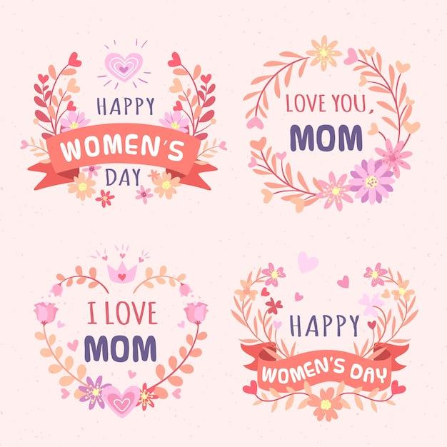 Collection d'insignes floraux femme Vecteur Premium