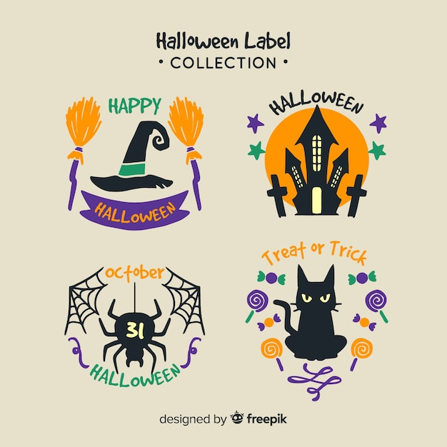 Collection d'insignes de halloween dessinés à la main colorée Vecteur gratuit