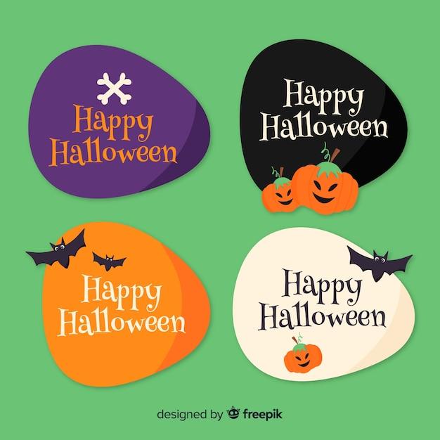 Collection d'insignes halloween dessinés à la main Vecteur gratuit