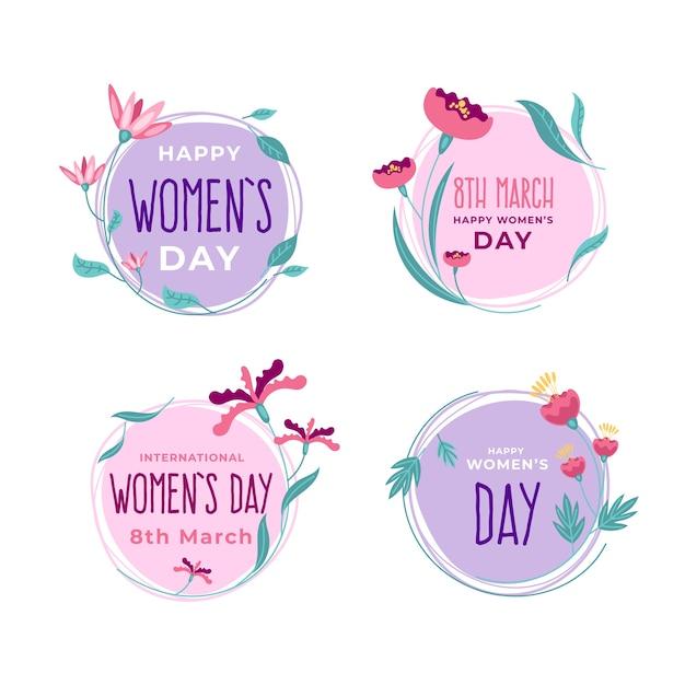 Collection D'insignes De Jour Féminin Design Plat Vecteur gratuit