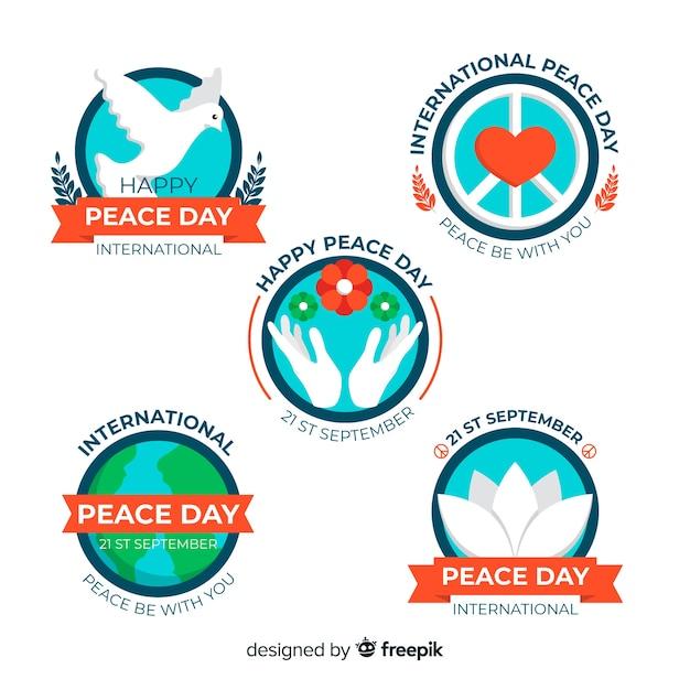 Collection d'insignes de jour de paix plat Vecteur gratuit