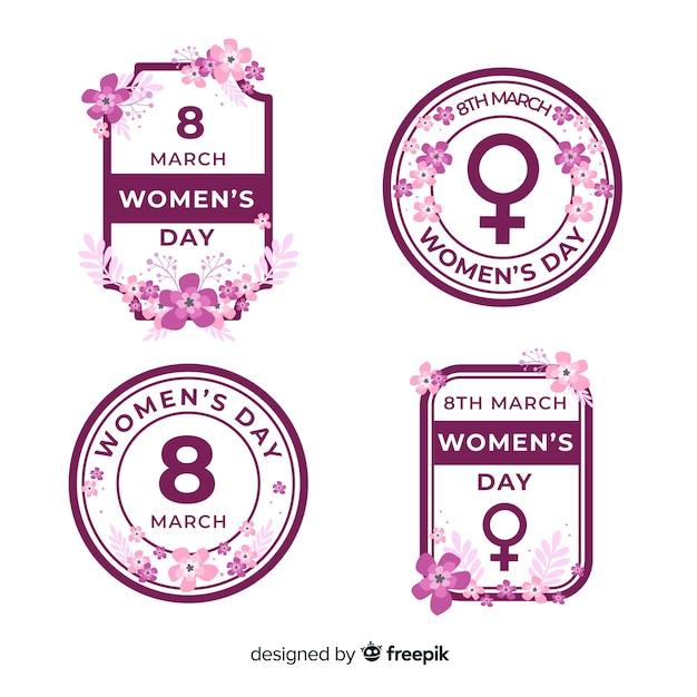 Collection d'insignes de la journée de la femme Vecteur gratuit