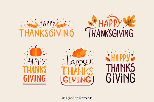 Collection d'insignes de lettrage happy thanksgiving Vecteur gratuit