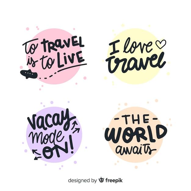 Collection d'insignes de lettrage de voyage coloré Vecteur gratuit