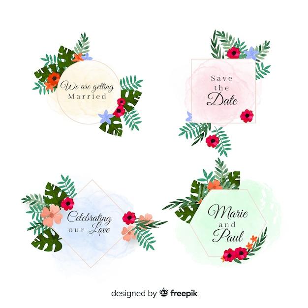 Collection d'insignes de mariage de taches d'aquarelle Vecteur gratuit