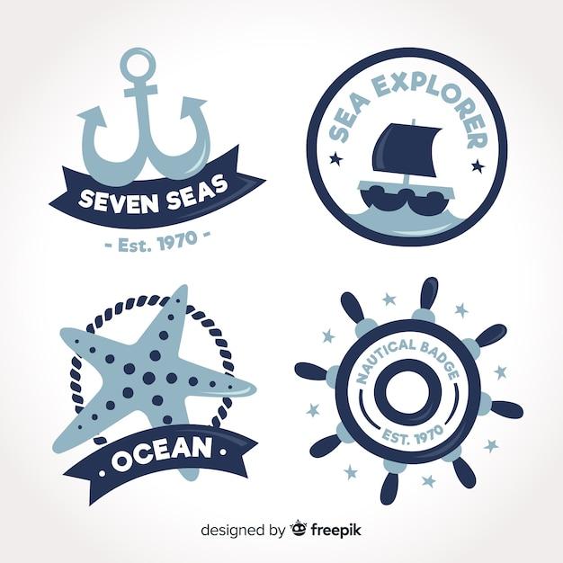 Collection d'insignes nautiques dessinés à la main Vecteur gratuit