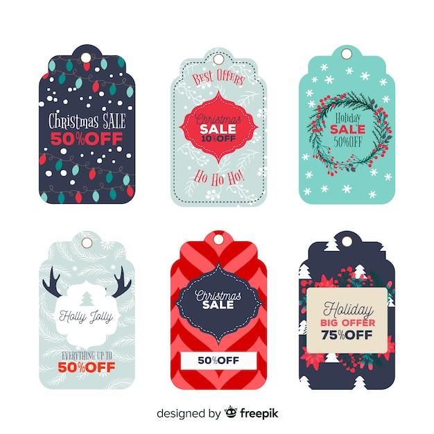 Collection D'insignes De Noël Au Design Plat Vecteur gratuit