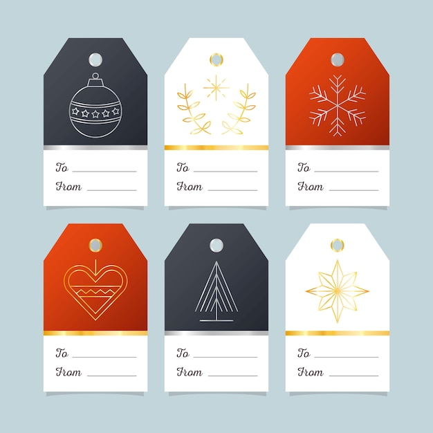 Collection d'insignes de noël design plat Vecteur gratuit
