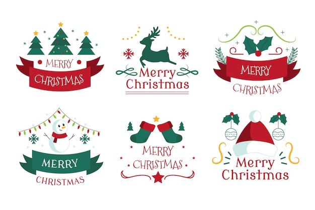 Collection D'insignes De Noël Dessinés à La Main Vecteur gratuit