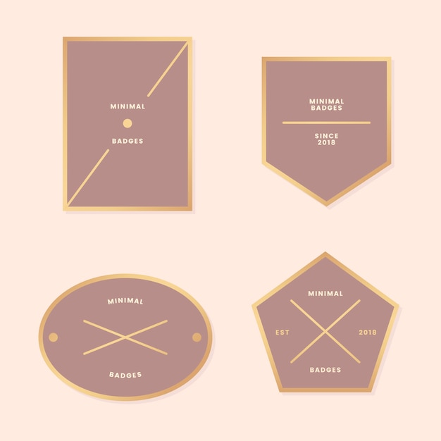 Collection d'insignes d'or minimes Vecteur gratuit