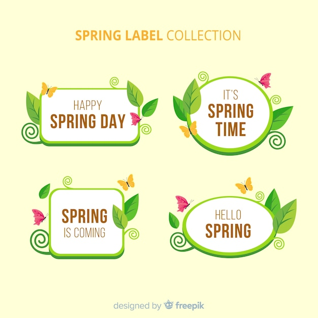 Collection d'insignes de printemps plat Vecteur gratuit