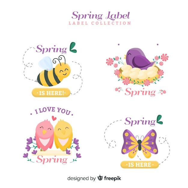 Collection d'insignes de printemps plat Vecteur gratuit