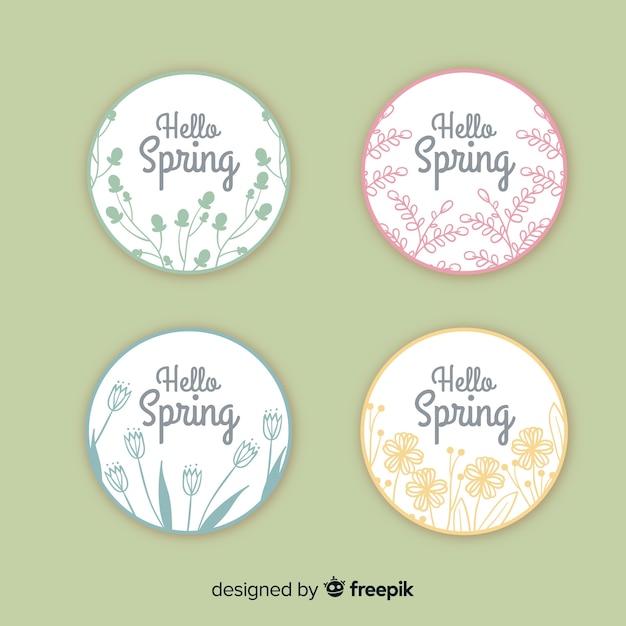 Collection d'insignes de printemps Vecteur gratuit