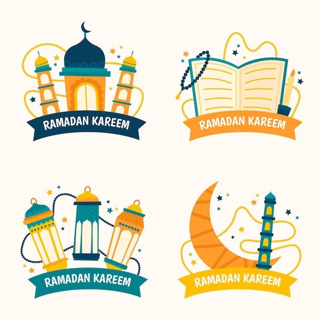Collection D'insignes De Ramadan Dessinés à La Main Isolé Sur Fond D'écran Blanc Vecteur gratuit