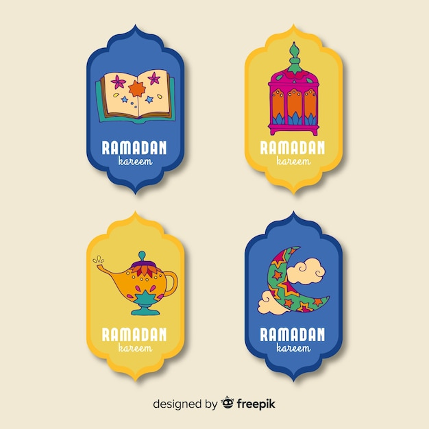 Collection d'insignes de ramadan dessinés à la main Vecteur gratuit
