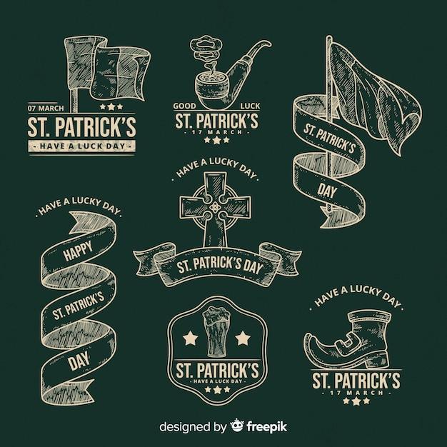 Collection d'insignes saint patrick Vecteur gratuit