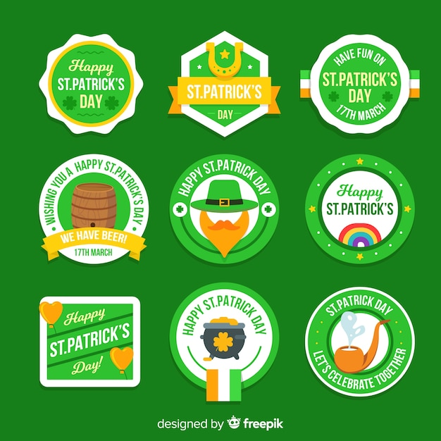 Collection d'insignes saint patrick Vecteur gratuit