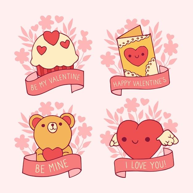 Collection d'insignes de saint valentin dessinés à la main Vecteur gratuit