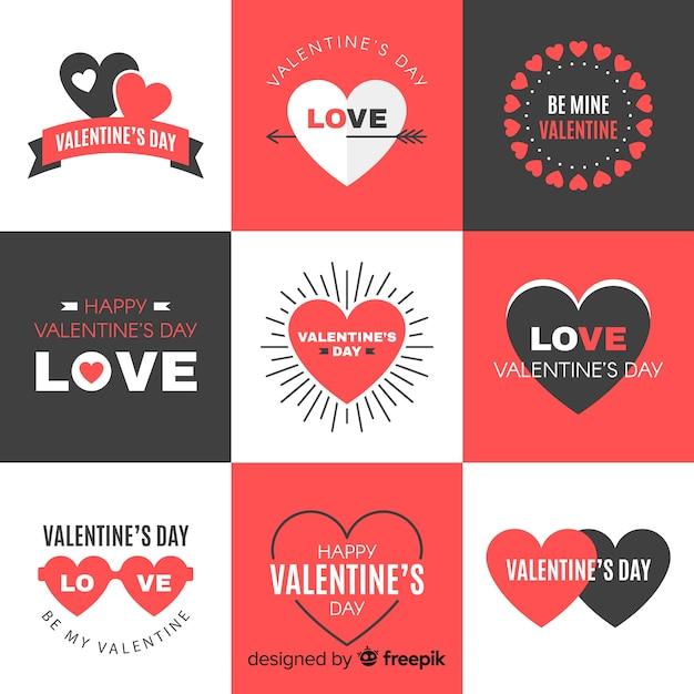 Collection d'insignes de saint valentin Vecteur gratuit
