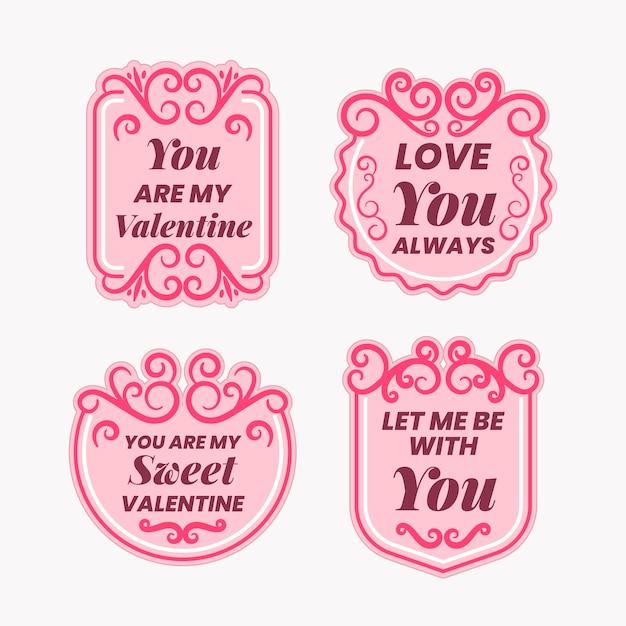 Collection d'insignes de la saint-valentin Vecteur gratuit
