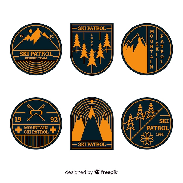 Collection d'insignes de sports d'hiver Vecteur gratuit