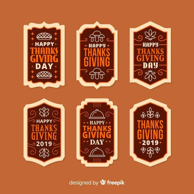 Collection d'insignes de thanksgiving au design plat Vecteur gratuit