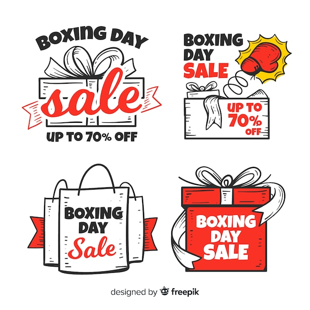 Collection d'insignes de vente boxing day dessinée Vecteur gratuit