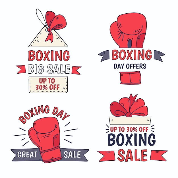 Collection d'insignes de vente dessinés à la main boxing day Vecteur gratuit