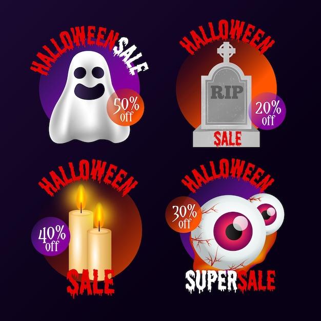 Collection D'insignes De Vente Halloween Réaliste Vecteur gratuit