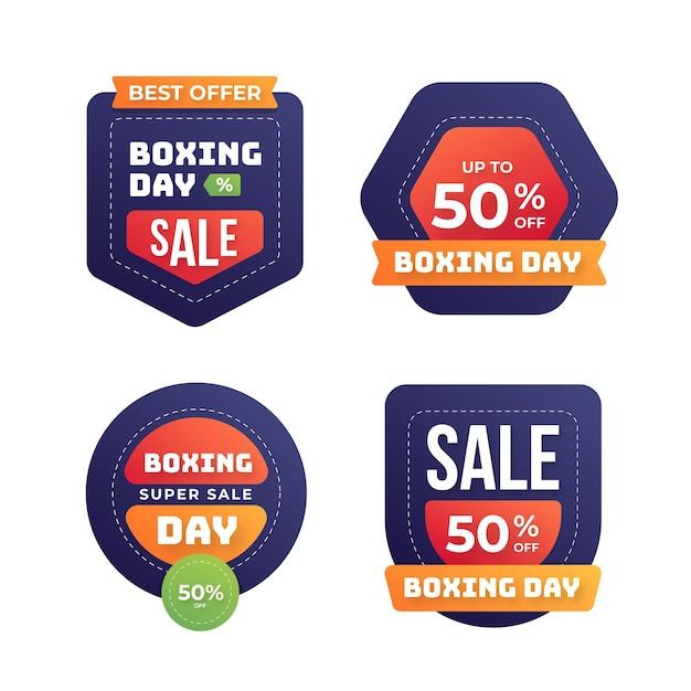 Collection D'insignes De Vente Plat Boxe Day Vecteur gratuit