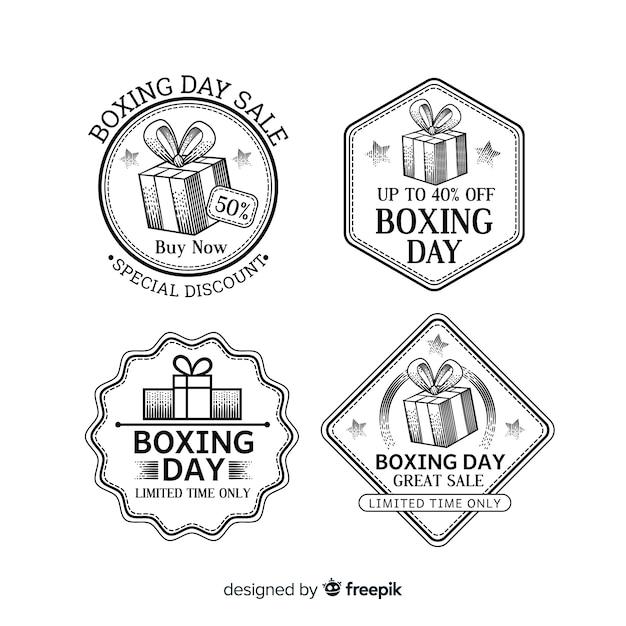 Collection d'insignes de vente vintage boxing day Vecteur gratuit