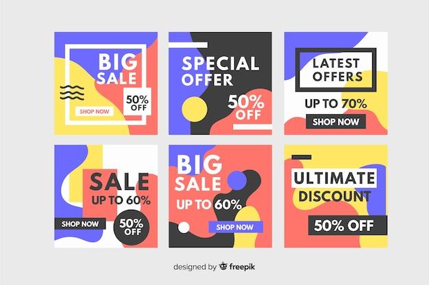 Collection instagram de design de memphis Vecteur gratuit