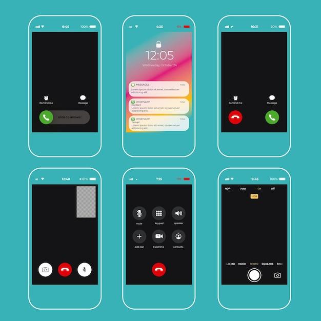 Collection D'interfaces Pour Smartphone Vecteur gratuit