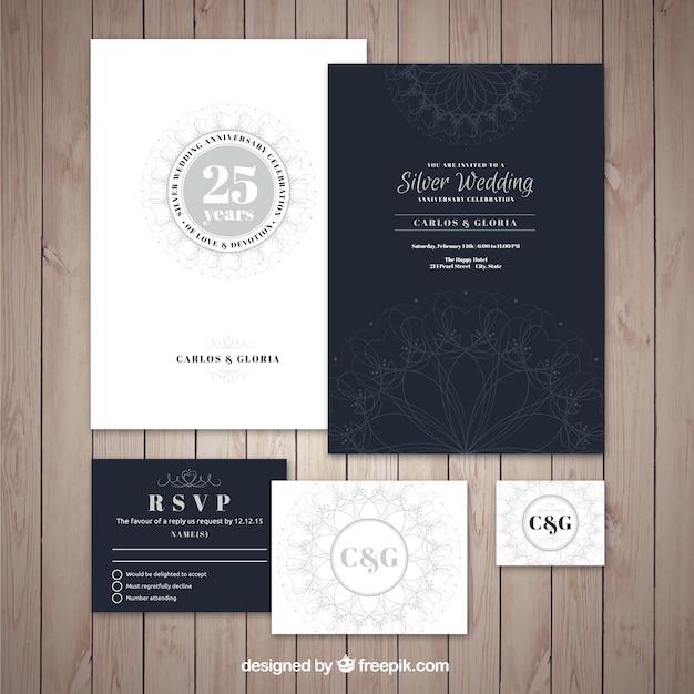 Collection d'invitation élégante de jubilé de mariage d'argent Vecteur gratuit