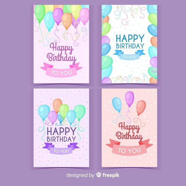 Collection d'invitations d'anniversaire dessinées à la main Vecteur gratuit