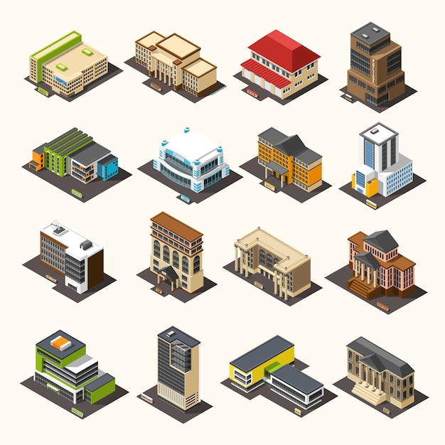 Collection isométrique des bâtiments urbains Vecteur gratuit