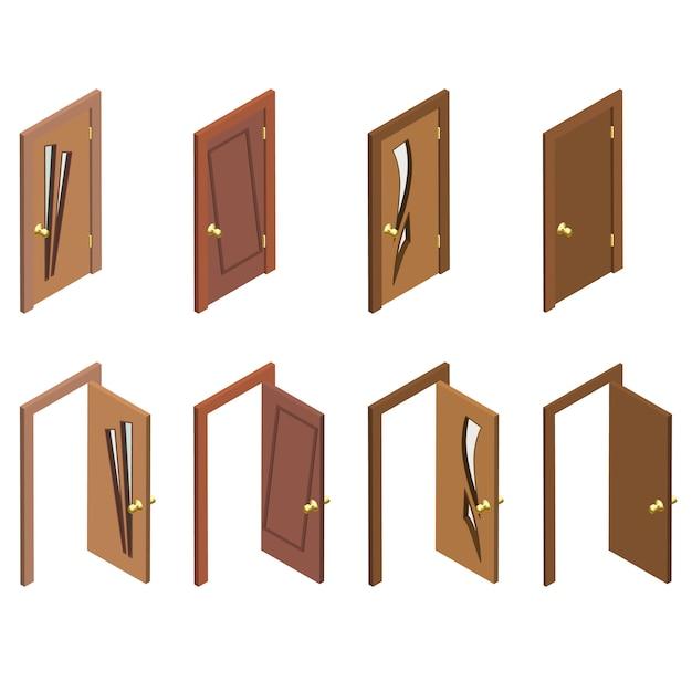 Collection Isométrique De Portes. Portes 3d En Bois Fermées, Ouvertes Et Plates. Vecteur Premium