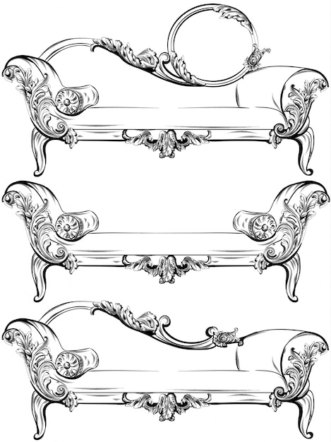 Collection de jeu canapé ou banc avec des éléments d'ornements baroques riches vector. style victorien impérial royal Vecteur Premium