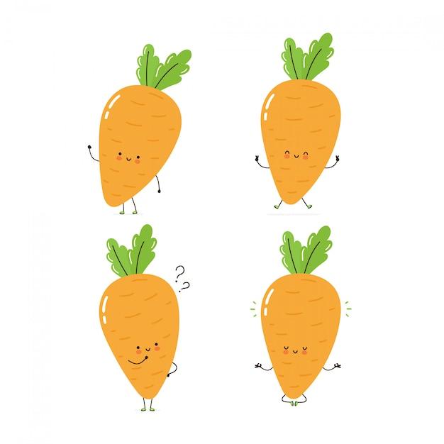 Collection de jeu de caractères mignon carotte heureux. isolé sur blanc conception de dessin vectoriel personnage illustration, style plat simple. carotte marcher, former, penser, méditer concept Vecteur Premium
