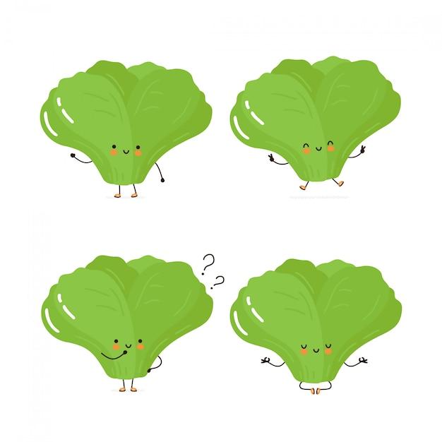 Collection de jeu de caractères mignon heureuse feuille verte salade. isolé sur blanc conception de dessin vectoriel personnage illustration, style plat simple. Vecteur Premium