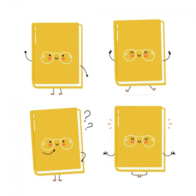Collection de jeu de caractères mignon livre heureux. isolé sur blanc conception de dessin vectoriel personnage illustration, style plat simple. livre marche, train, pense, médite concept Vecteur Premium
