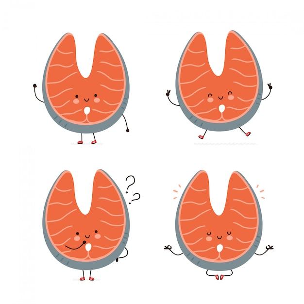 Collection de jeu de caractères saumon mignon poisson rouge heureux. isolé sur blanc conception de dessin vectoriel personnage illustration, style plat simple. poisson rouge saumon marche, saute, pense, médite concept Vecteur Premium