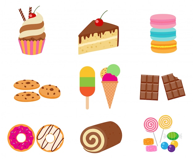 Collection de jeu de dessert sucré Vecteur Premium