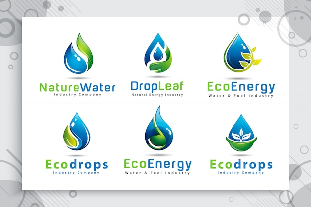Collection De Jeu De Logo Goutte D'eau Nature Avec Concept De Couleur De Style Moderne. Vecteur Premium