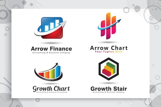 Collection De Jeu De Logo Graphique Flèche Comme Un Symbole De La Comptabilité Avec Un Concept Moderne. Vecteur Premium