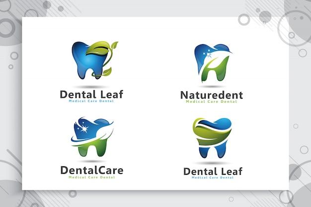 Collection De Jeu De Logo De Soins Dentaires Avec Concept Naturel Moderne. Vecteur Premium