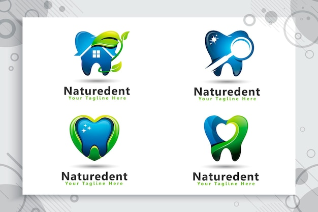 Collection De Jeu De Logo De Soins Dentaires Vecteur Premium