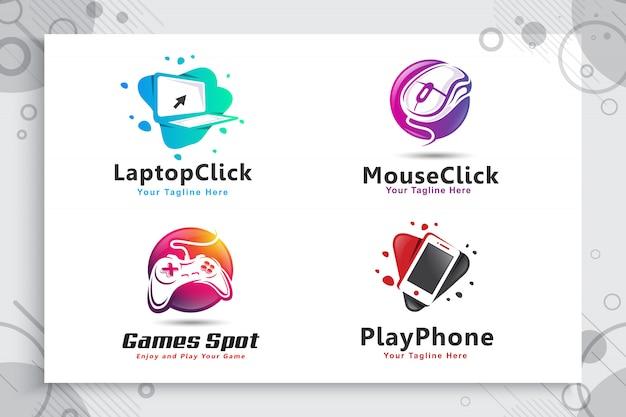 Collection De Jeu De Logo Spot De Jeu électronique Et Coloré Avec Le Concept De Style Moderne. Vecteur Premium