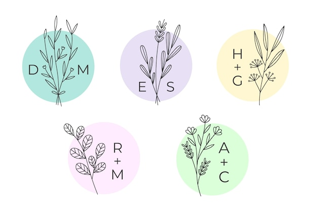 Collection de jeu de monogrammes de mariage minimaliste dans des couleurs pastel Vecteur gratuit